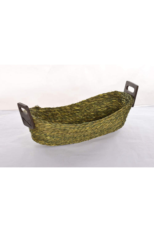 Handmade Sabai Grass Bread Basket - Large (Green)