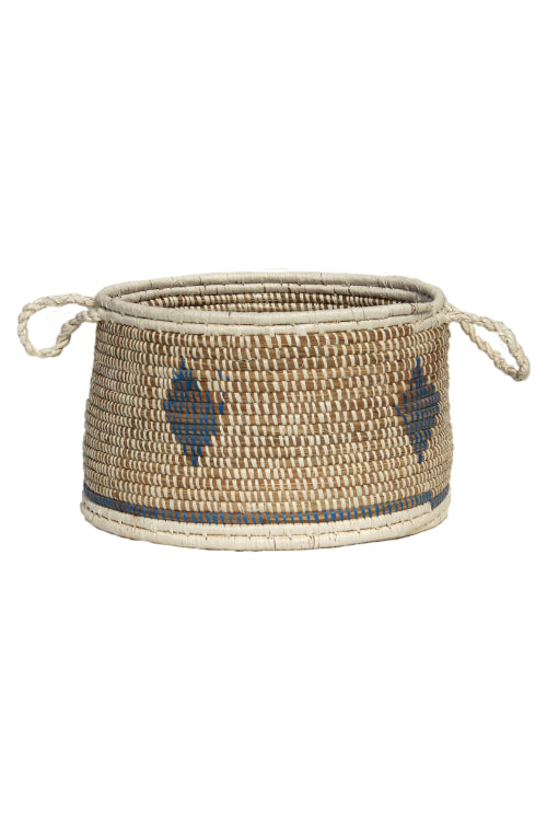 Handmade Moonj Grass Storage Basket (Indigo)