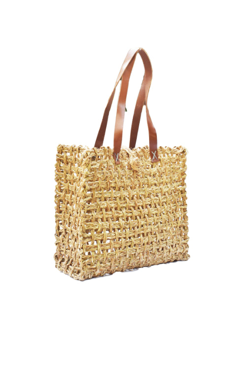 Handmade Sabai Grass Lunch Bag Large (Natural)