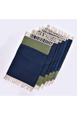 Handwoven Cotton Rug Table Mat Set of 6 (Blue & Green)