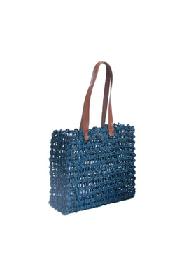 Handmade Sabai Grass Lunch Bag - Large (Indigo)