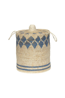 Handmade Moonj Grass Laundry Basket (Indigo)