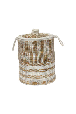Handmade Moonj Grass Laundry Basket (White)