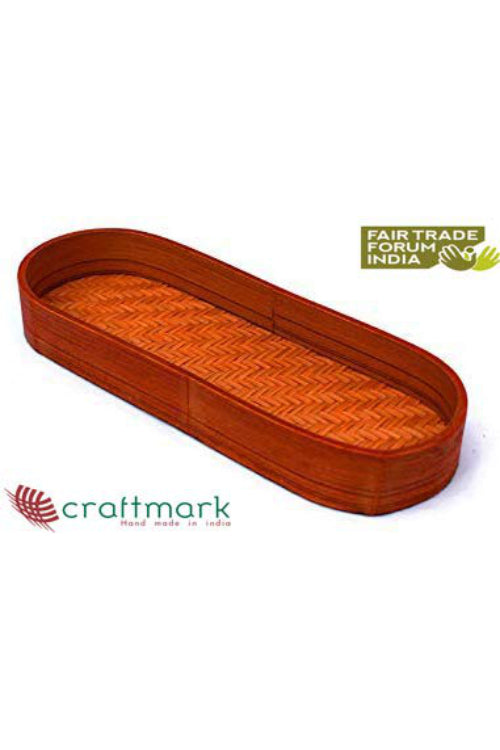Handmade Bamboo Olive Tray (Orange)