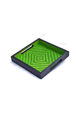 Handmade Bamboo Square Tray - Small (Green & Black)