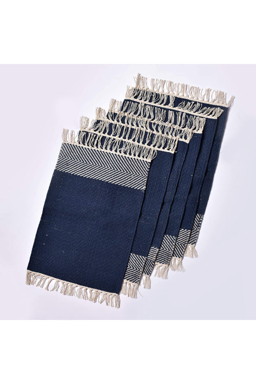 Handwoven Cotton Rug Table Mat Set of 6 (Blue & White)