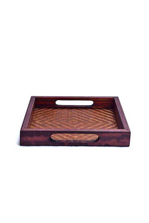 Handmade Bamboo Square Tray - Small (Brown)