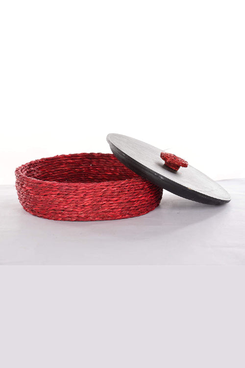 Handmade Sabai Grass Roti Box (Red)