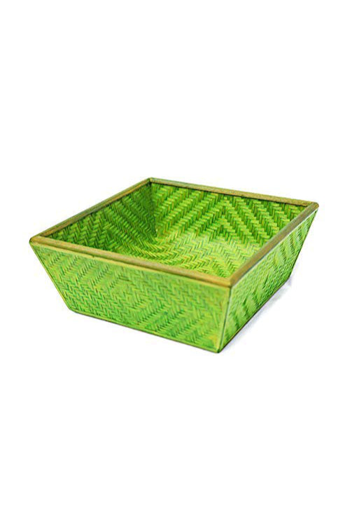 Handmade Bamboo Fruit Basket - Medium (Green)