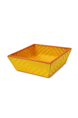 Handmade Bamboo Fruit Basket - Medium (Yellow)