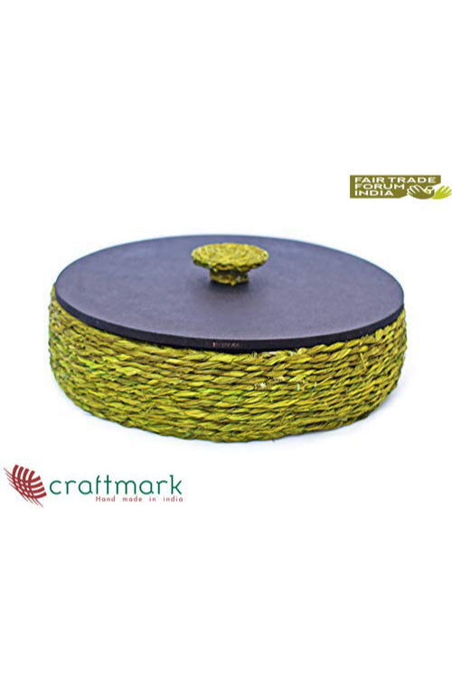 Handmade Sabai Grass Roti Box (Green)