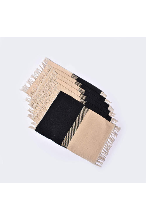 Handwoven Cotton Rug Table Mat Set of 6 (Black & Natural)