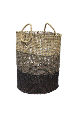 Handmade Sabai Grass Laundry Basket (Black)