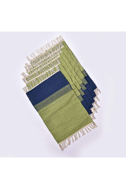 Handwoven Cotton Rug Table Mat Set of 6 (Green & Blue)