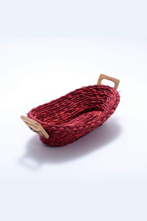 Handmade Sabai Grass Bread Basket - Small (Red)