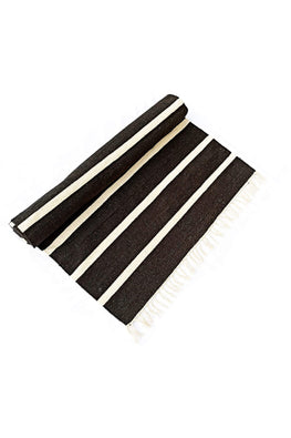 Handwoven Cotton Rug Floor Mat (Black)