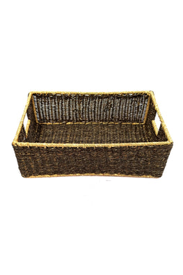 Handmade Sabai Grass Towel Basket - Small (Black)