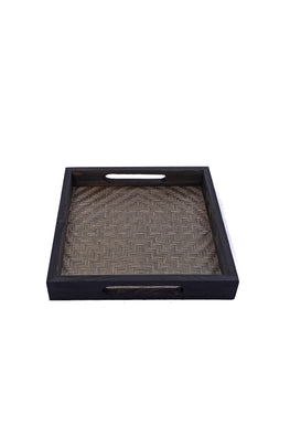 Handmade Bamboo Square Tray - Small (Black)