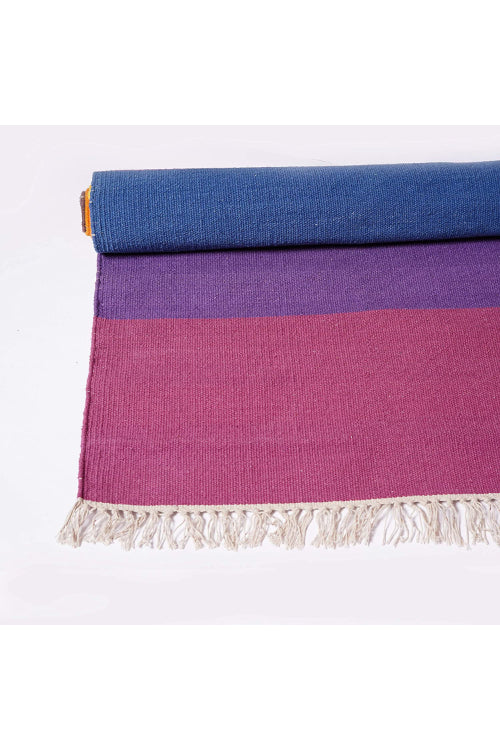 Handwoven Cotton Rug Floor Mat (Purple)
