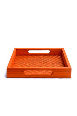 Handmade Bamboo Square Tray - Small (Orange)