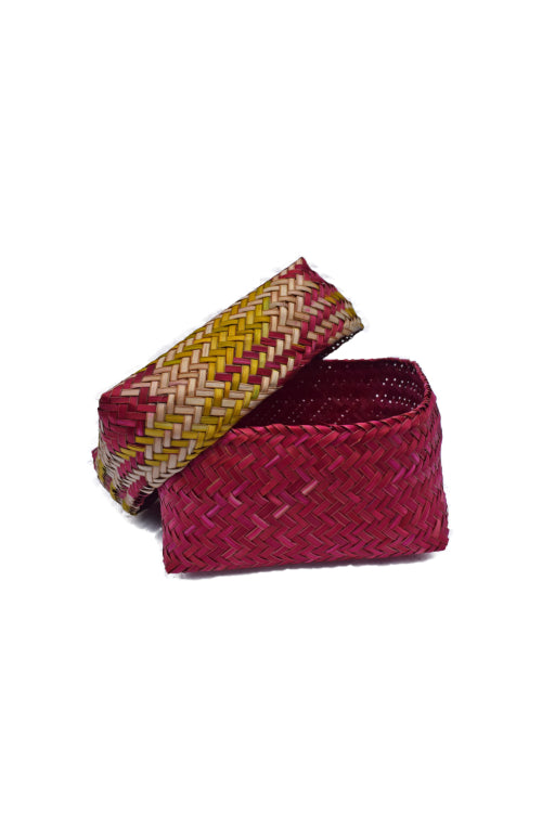 Handmade Sitalpati  Gift Box Set of 3 (Red & Yellow)