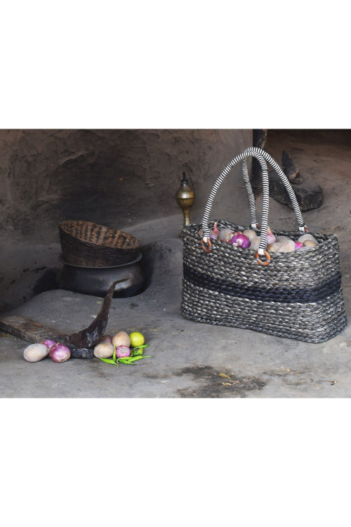 Handmade Sabai Grass Vegetable Bag (Black)