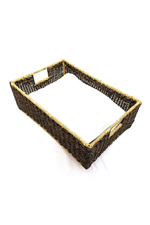 Handmade Sabai Grass Towel Basket - Large (Black)