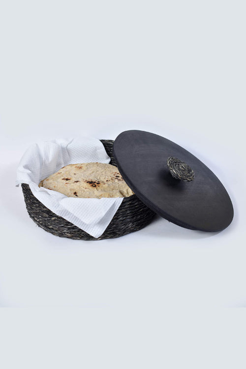 Handmade Sabai Grass Roti Box (Black)