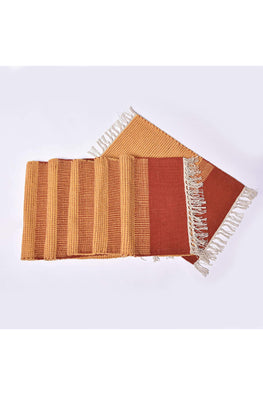 Handwoven Cotton Rug Table Mat Set of 6 (Orange)