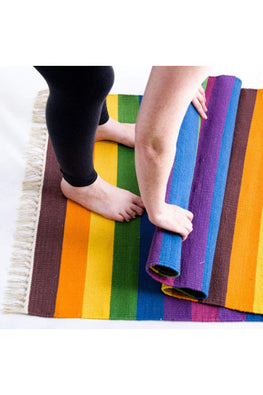 Handwoven Cotton Rug Floor Mat (Rainbow)