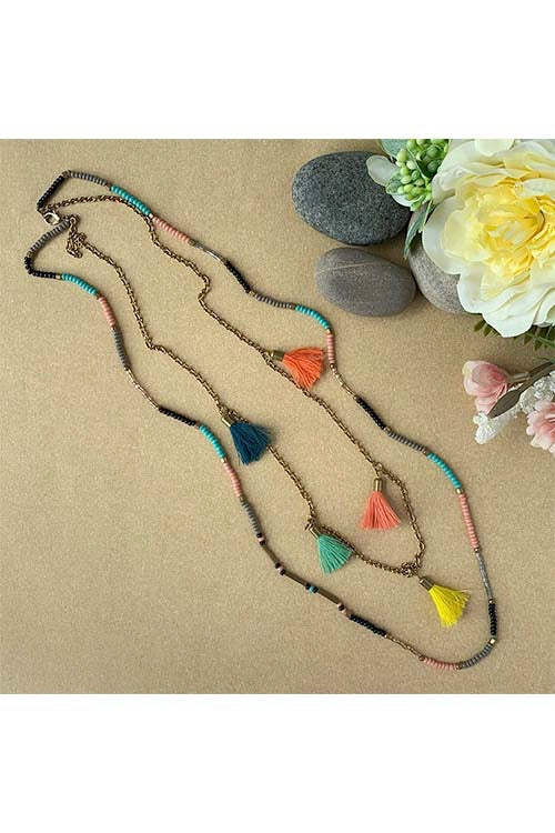 Dhaaga Handcrafts - Beaded two layered necklace