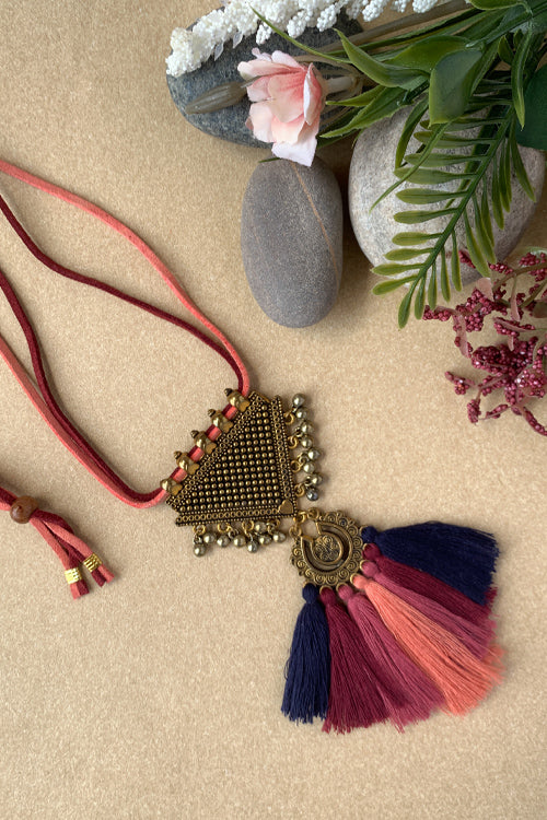 Dhaaga Handcrafts - Antique gold navy bue and pink contemporary necklace