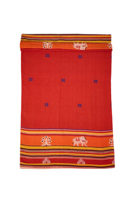 Red-Extra-Weft-Handwoven-Double-Bed-Cover