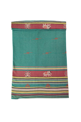 Green-Extra-Weft-Handwoven-Double-Bed-Cover
