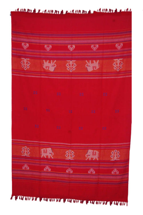 Red-Extra-Weft-Handwoven-Single-Bed-Cover