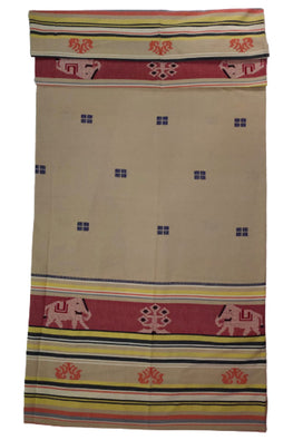 Beige-Extra-Weft-Handwoven-Single-Bed-Cover