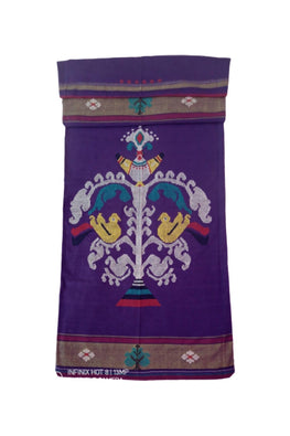 Purple-Extra-Weft-Handwoven-Single-Bed-Cover