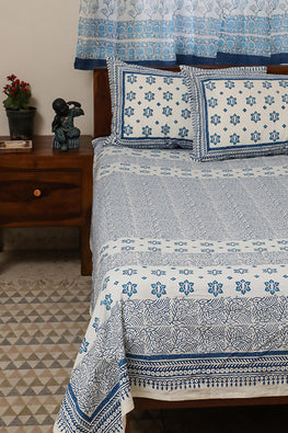 Sootisyahi 'Dream of Stars' Handblock Printed Cotton Bedsheet