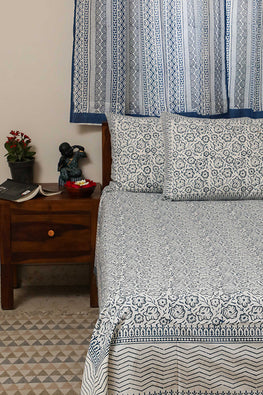 Sootisyahi 'Bed of Flowers' Handblock Printed Cotton Bedsheet