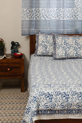 Sootisyahi 'Flowering Waves' Handblock Printed Cotton Bedsheet