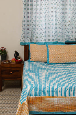 Sootisyahi 'Dream of Waves' Handblock Printed Cotton Bedsheet