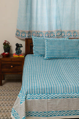 Sootisyahi 'Dreams of Wave' Handblock Printed Cotton Bedsheet