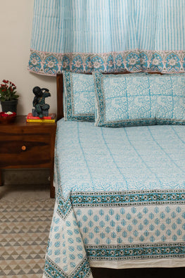 Sootisyahi 'Cuckoo in Forest'Handblock Printed Cotton Bedsheet