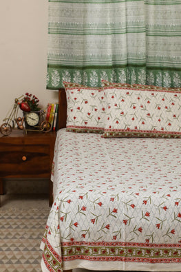 Sootisyahi 'Dream of Lily' Handblock Printed Cotton Bedsheet-21