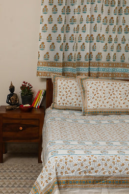 Sootisyahi 'Dream of Flowers' Handblock Printed Cotton Bedsheet-25