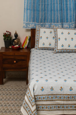 Sootisyahi 'Dream of Flowers' Handblock Printed Cotton Bedsheet-27