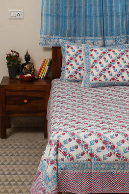 Sootisyahi 'Dream of Flowers' Handblock Printed Cotton Bedsheet-28