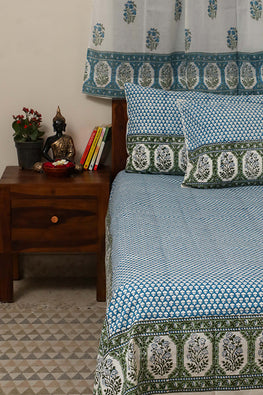 Sootisyahi 'Dreams of Sky' Handblock Printed Cotton Bedsheet-29