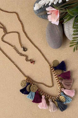 Dhaaga Handcrafts - Navy wine gray Tassel coin box necklace