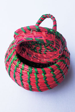 Handcrafted-Sikki-grass-Round-Container